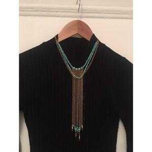 Babylone Paris Statement Gold & Turquoise Necklace